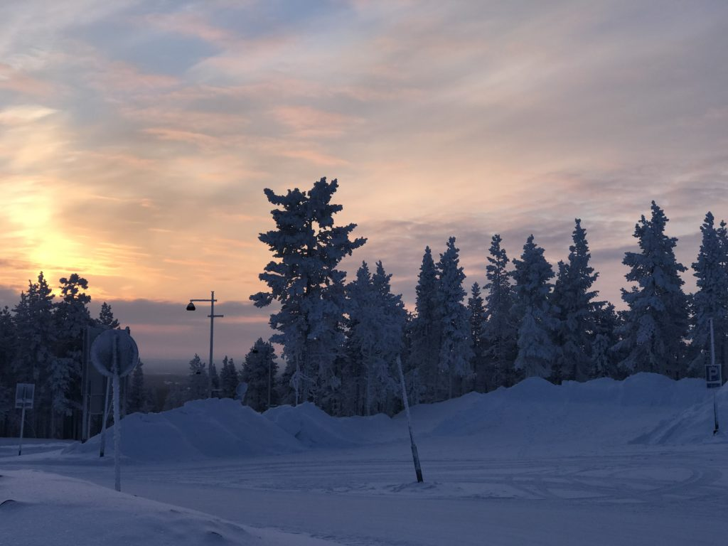sunset, Levi, Finland, snow, lapland